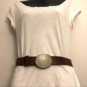 3/$20 GAP Boho Tooled Leather Belt Stoned Buckle